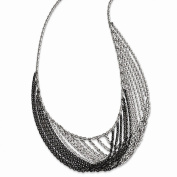 Sterling Silver Rhodium & Ruthenium-plated Multi Strand with 5.1cm ext. Necklace