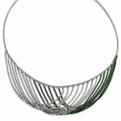 Sterling Silver Rhodium & Green Plated Multi Strand Necklace with 5.1cm ext