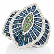 Sterling Silver 1.20ct TDW Blue, White and Green Diamond Marquise Cocktail Ring