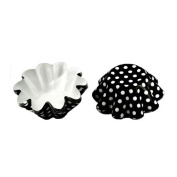 Medium Brioche / Floret Baking Cup Black with Dots, Pack of 50