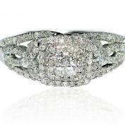Engagement Ring Vintage Inspired 14K White Gold 1/2ctw Diamond Bridal
