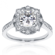 Antique Floral Cushion Forever One Moissanite and Diamond Engagement Ring 1 1/3 CTW in 14k White Gold