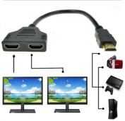 Antoble 1080P HDMI Port Male to 2 Female 1 In 2 Out Splitter Cable Adapter Converter