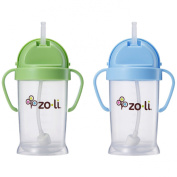 Zoli Baby Bot XL Straw Sippy Cup 270ml - 2 Pack, Green/Blue