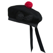 New Scottish Black Wool Balmoral plain Hat With Red Pompom on Top (7 1/8 -