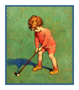 Young Boy Practing His Golf Swing By Jessie Willcox Smith Counted Cross Stitch Chart