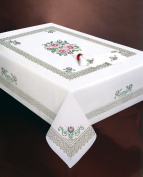 Design Works Crafts Stamped Embroidery Roses and Lace Tablecloth, 130cm by 180cm