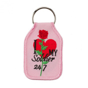 Embroidered Army Key Chains - Pink W01S42A