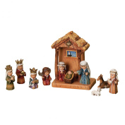 WoodWorks 11-Piece Nativity Set Featuring Children as The Holy Family an Angel, a Shepherd with Sheep and 3 Kings, 20cm