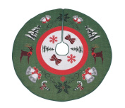 Primode Tree Skirt, Woven Jacquard 130cm Xmas Holiday Tree Ornaments Decoration
