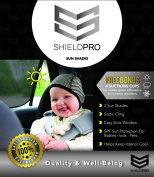 Car Window Sun Shades Premium Quality By Shieldpro (2 Packs) - Powerful Uv Rays Protector Sun Shade Great for Babies, Kids and Pets - Easy Stick Windows Sun Shades