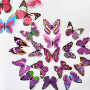 ElecMotive(TM) 24 Pcs 3D Butterfly New Home Decoration DIY Removable 3D Vivid Special Man-made Lively Butterfly Art DIY Decor Wall Stickers for Wall Decor Home Decor Wall Art Kids Room Bedroom Decor Living Room Decor