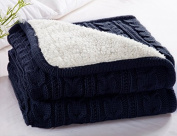 CottonTex Cotton Knitted Dual Cable Throw with Lining Super Soft Warm Cover Blanket Double Cable Knitting Pattern, 47*180cm , Navy