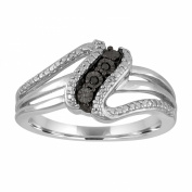Vir Jewels Sterling Silver Black and White Diamond Accent Ring In Size 7
