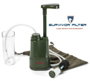 Survivor Filter PRO - 0.01 Micron Water Purifier. Comes with Assembled with Internal Filters (Carbon, Membrane), Free Carry Bag, Attachable Water Cup + 2 Cotton Pre-Filters! No chemicals. Removes Dirt, Bacteria, Chlorine, Heavy Metals and Other Contami ..