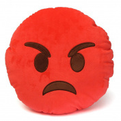Emoji 32cm Silly Smiley Pillows Emoticon Red Round Cushion Pillow Stuffed Plush Soft Toy-emoji red angry -trademark of 2mb enterpise llc