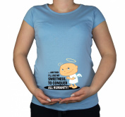 Maternity Pregnancy size 10 - 20 Cotton Baby Angel Funny Print Top Tunic T-Shirt