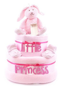 Personalised 2 Tier Pink baby girl shower nappy cake hamper - FAST.