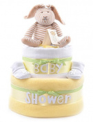 Personalised 2 Tier Yellow Unisex baby shower nappy cake hamper - FAST.