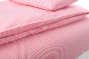 Children's Bed Sheet Pink or Blue Cheque 52% Cotton, 48% Linen 105 x 140 cm 140x105 Pink