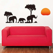 The Sun Trees Elephants Wall Decal Home Sticker House Decoration WallPaper Removable Living Dinning Room Bedroom Kitchen Art Picture Murals DIY Stick Girls Boys kids Nursery Baby Playroom Decoration