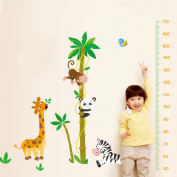 Animals Giraffe Monkey Zebra Panda Tree Bird Height Measurement Wall Decal Home Sticker Paper Removable Living Dinning Room Bedroom Kitchen Art Picture Murals DIY Stick Girls Boys kids Nursery Baby Playroom Decoration
