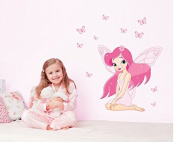 Pink Girl Fairy Wall Decal Home Sticker Paper Removable Living Dinning Room Bedroom Kitchen Art Picture Murals DIY Stick Girls Boys kids Nursery Baby Playroom Decoration