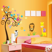 Colourful Tree Flowers Owls Birds Lion Animals Wall Decal Home Sticker Paper Removable Living Dinning Room Bedroom Kitchen Art Picture Murals DIY Stick Girls Boys kids Nursery Baby Playroom Decoration