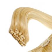 Clip In Hair | Human Hair Extensions | Full Head | 46cm Blondie Blonde