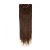 Clip In Hair | Human Hair Extensions | Full Head | 46cm Dark Brown
