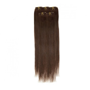 Clip In Hair | Human Hair Extensions | Full Head | 46cm Darkest Brown