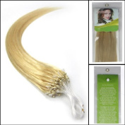 41cm 100S Easy Loops Micro Ring Beads Tipped Real Human Hair Extensions Straight Colour 613 Light Blonde Beauty Hair Style by Pretty Fashio n INC