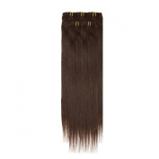 Clip In Hair | Human Hair Extensions | Full Head | 46cm Barely Black