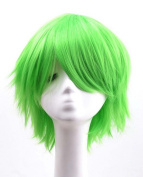 Etruke Short Straight Green Party Heat Resistant Cosplay Wigs
