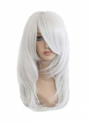 Etruke Anime Yami Bakura Long Curly Party Hair Silver White Cosplay Wigs
