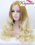 K'ryssma Beauty Natural Looking Ombre Blonde Wavy Synthetic Lace Front Wigs for Women Half Hand Tied Heat Resistant Fibre 60cm for Christmas