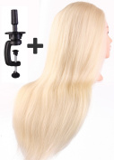 50cm Cosmetology Mannequin Head, 60% Hunmen Hair + 40% High Temperature Fibre, Blonde Colour, Manikin Heads with Table Clamp Holder