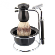 Beauty7 Shaving Set with Bristle Brush & Bowl in elegant black finish