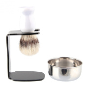 Beauty7 Shaving Set with Bristle Brush & Bowl in elegant White finish