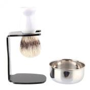 Beauty7 Shaving Set with Bristle Brush & Bowl in elegant White finish