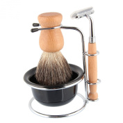 Beauty7 Shaving Set with Bristle Brush & Bowl in Wooden Handle finish