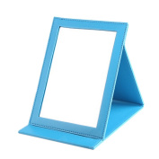 High Quality PU Leather Portable/Foldable Mirror For Makeup/Travel, Blue
