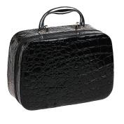 PU Leather Cosmetic Makeup Box Case Toiletry Organiser Storage Handbag With Mirror Crocodile Pattern Black