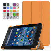 Fire 7 2015 Case - MoKo Ultra Slim Lightweight Smart-shell Stand Cover for Amazon Kindle Fire 18cm Display Tablet (5th Generation - 2015 Release Only), ORANGE