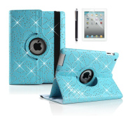 Boriyuan Apple iPad Air 2 cases ,360 Rotating Leather Smart Case Cover Flower Pattern Case With Stand Cover PU Leather Case Free Screen Protector+ Stylus Colour