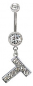 Blingbling GlitZ Letters Belly Bar - Wáhlen Your Initials from the menu