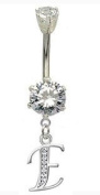 Blingbling GlitZ Women's Belly Button Stud Surgical Stainless Steel with Crystals Initial Design 10 mm