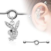 Coolbodyart Surgical Steel Industrial Barbell Ear Silver Playboy Bunny Multi Zirconia clear