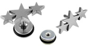 BlingBling GlitZ Unisex Fake Plugs with Three Stars Design 1.2 mm Surgical Steel Set of 2