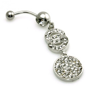 14g (1.6mm) Stainless Steel Cubic Zirconia Interlinked Circles Dangle Belly Ring Navel Piercing